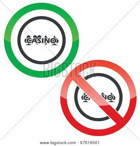 Casino permission signs
