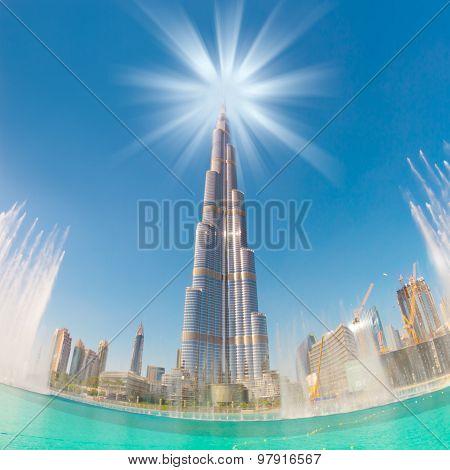Burj Khalifa and Dubai Fountain in Dubai.