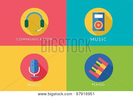 Music vector logo icons set. Player, piano, sound, microphone and headphone, radio. Keys or buttons, dj party, note music icons. Vector logo. Stocks design elements