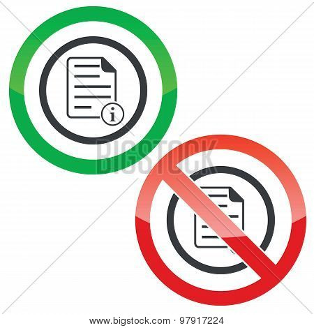 Information document permission signs