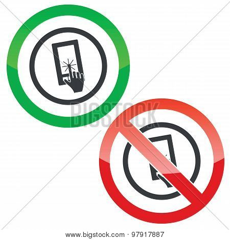 Touch screen permission signs