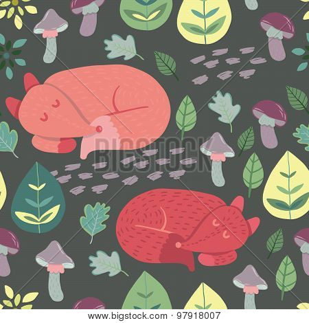 Forest Friends Collection. Cute sleepy foxes. Seamless vector pattern.