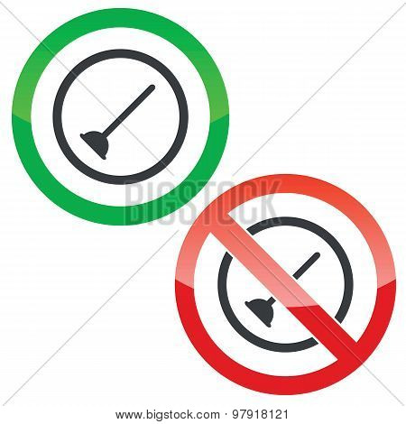 Plunger permission signs