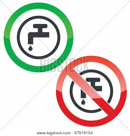 Water tap permission signs