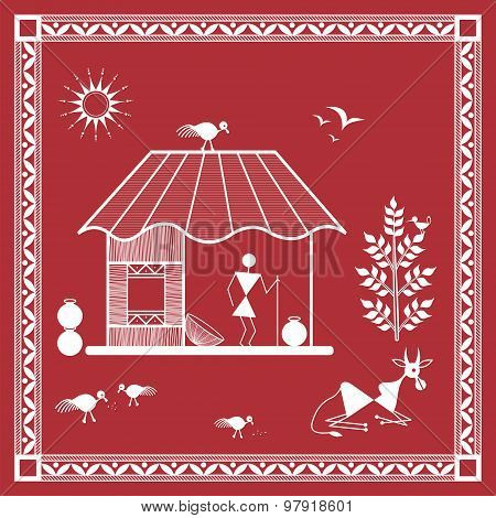 Indian tribal Painting. Warli Painting