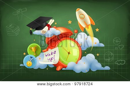 Wake up to school, vector background