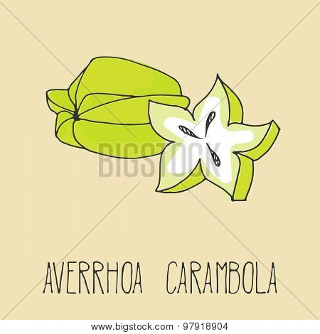 Hand drawing illustration of carambola