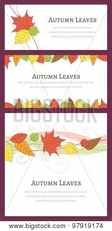 Three Autumn Backgrounds With Hand Drawn Autumn Leaves