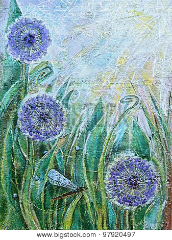 Blue Allium Flowers And Dragonfly. Spring Blooming Meadow Plants