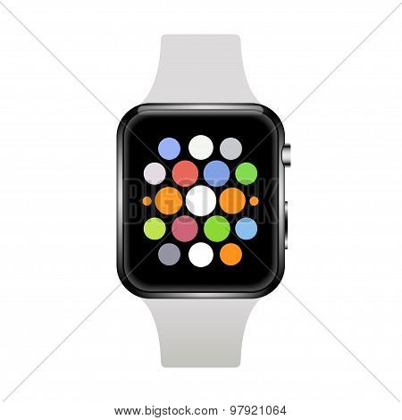 Vector modern realistic smart watch on white
