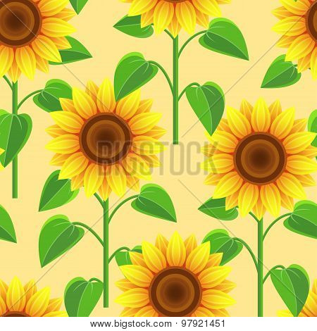 Seamless Pattern With Flowers Sunflowers