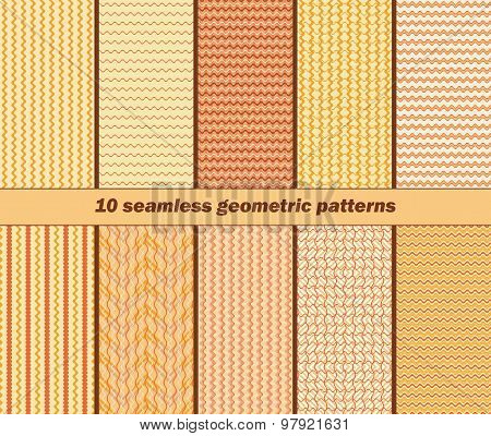 10 Seamless Geometric Wavy Patterns In Autumn Colors