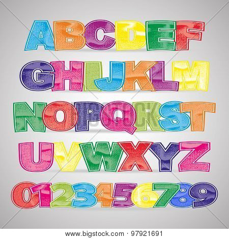 Fun colorful scratched vector font
