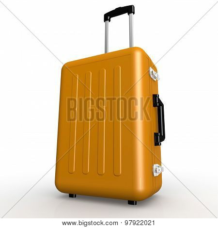 Orange Luggage Stands On The Floor