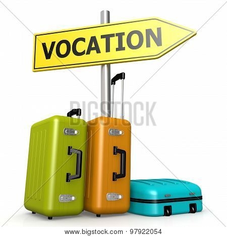 Vocation Road Sign With Luggages