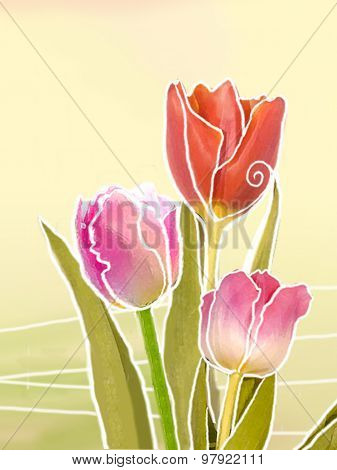 Holiday Illustration Of Tulips. Floral Abstract Background.