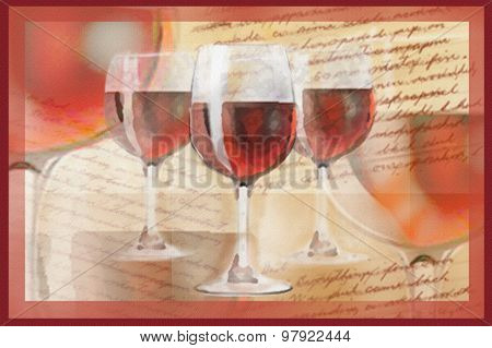 Holiday Card With Handwritten Text And Glasses With Red Wine.