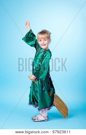 Little girl flying on broom