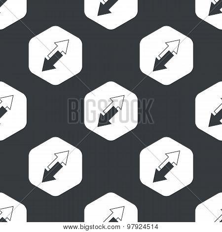 Black hexagon opposite arrows pattern