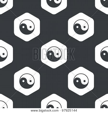Black hexagon ying yang pattern