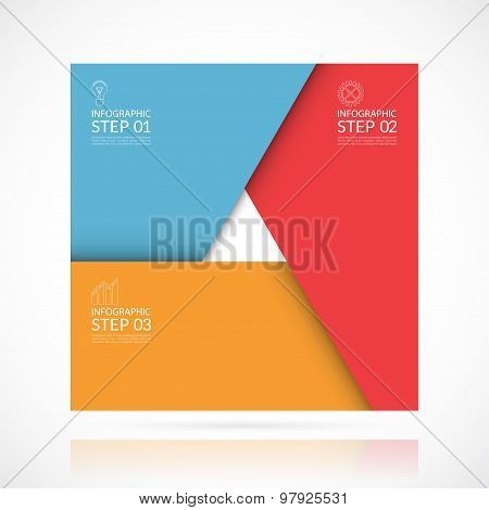 Vector square infographic template. 3 steps business concept