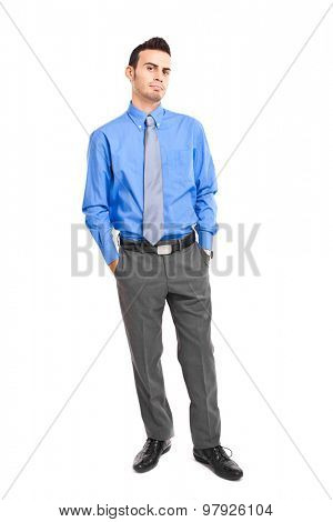 Full length doubtful businessman