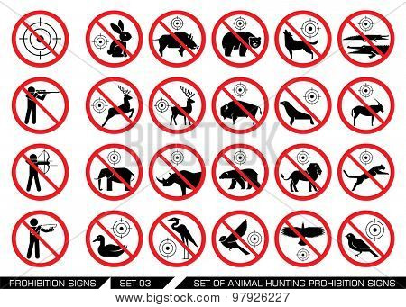 Set of animal hunt prohibition signs. Collection of signs that prevent animal hunting. Animal hunt banned. Preserving wildlife.