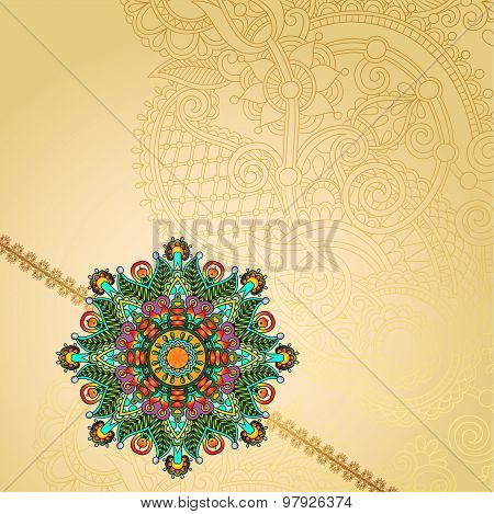 Happy Rakhi greeting card for indian holiday Raksha Bandhan