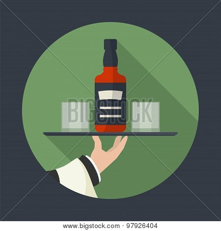 Waiter With Whiskey  Bottle And  Two Glasses