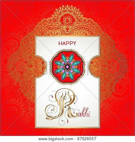 red Happy Rakhi greeting card for indian holiday Raksha Bandhan