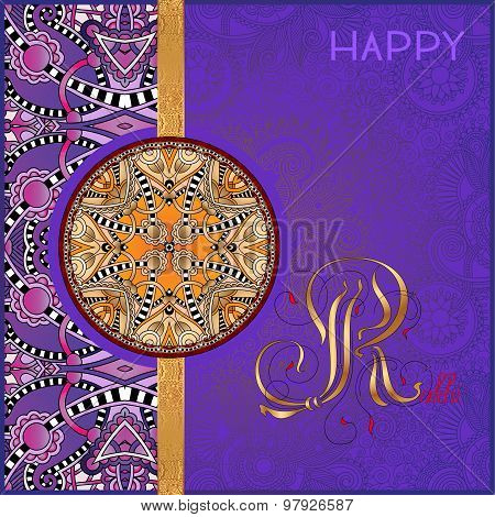 violet greeting card for indian festive sisters and brothers Rak