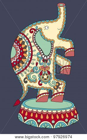 ethnic colored drawing of circus theme - elephant performance