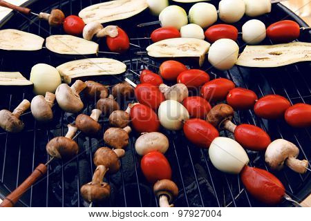 fresh raw tomatoes onion mushroom eggplant on skewers over charcoal on grid over brazier grill