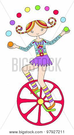 line art drawing of circus theme - teenage girl juggler on unicy