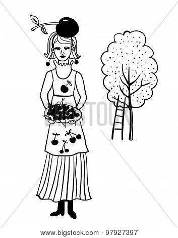 Girl in the garden collects cherry vector illustration