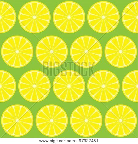 Lemons Isolated On Green Seamless Pattern Background