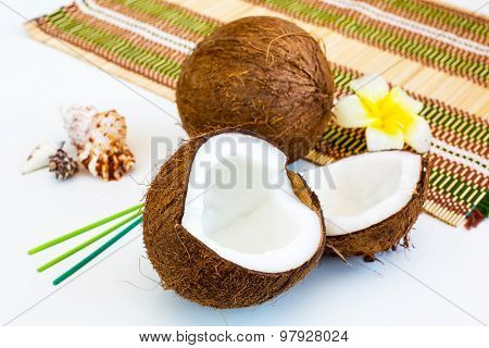 Still Life With Two Parts Of Ripe Fresh Coconut
