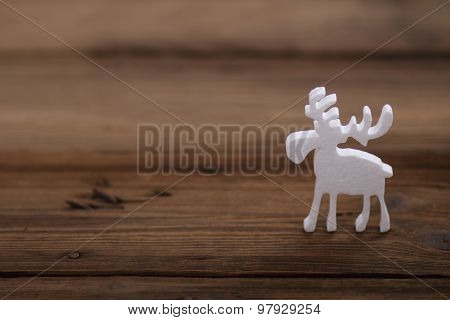 Christmas ornaments on the wooden background