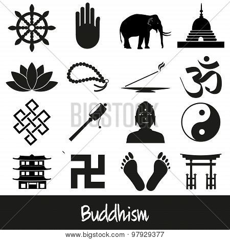 Buddhism Religions Symbols Vector Set Of Icons Eps10