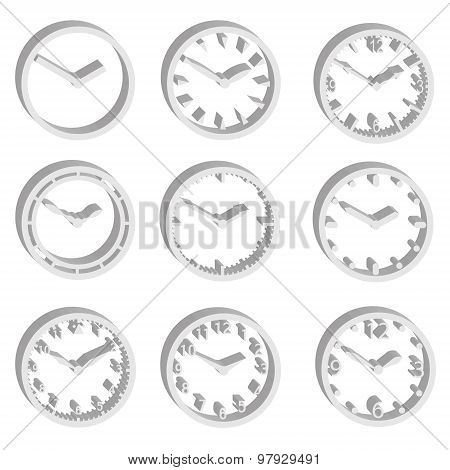 Simple Watch Dials 3D Style Icons Set Eps10