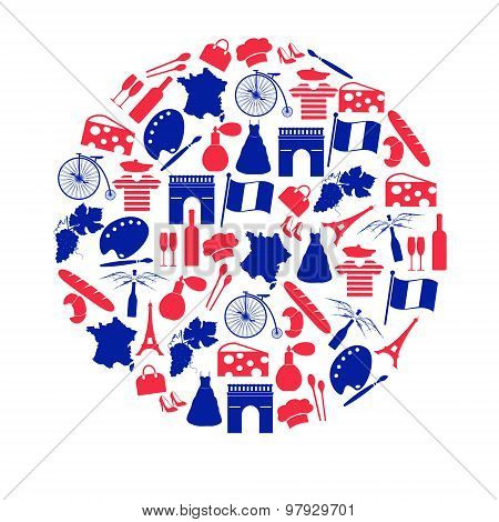 France Country Theme Symbols And Icons In Circle Eps10