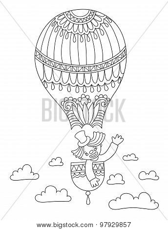 line art illustration of circus theme - clown in a balloon
