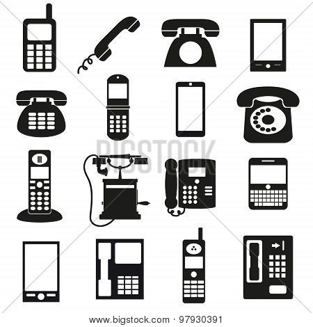 Various Black Phone Symbols And Icons Set Eps10