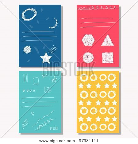 Hand Drawn Doodle Childish Bright Backgrounds Collection For Design