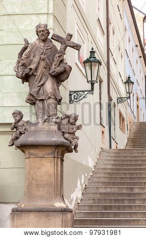 Prague Castle Steps With A Religious Statue