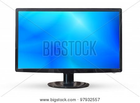 Television Or Monitor Pc Landscape Isolated On White Background.