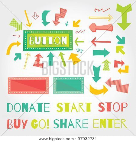 Donate button arrows ans words set . White background.