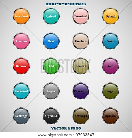 set of glass round colorful web buttons with glossy reflections for website or app