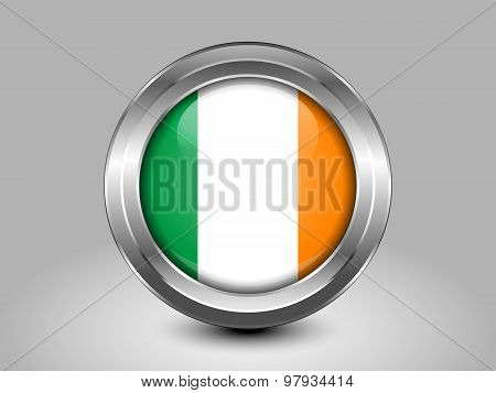 Flag Of Ireland. Metal Round Icon