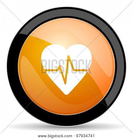 pulse orange icon heart rate sign
